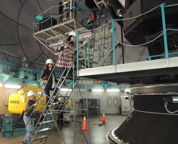 Subindo até o espelho do telescópio SOAR