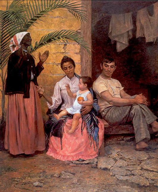 A Redenção de Cam: obra do pintor espanhol Modesto Brocos analisada pelos alunos no evento.